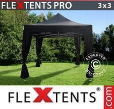 Foldetelt FleXtents PRO 3x3m Sort, inkl. 4 pyntegardiner