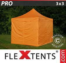 Foldetelt FleXtents PRO 3x3m Orange, inkl. 4 sider