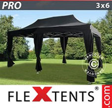 Foldetelt FleXtents PRO 3x6m Sort, inkl. 6 pyntegardiner